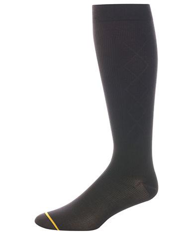 Goldtoe Mens Argyle Compression Socks-BLACK-10