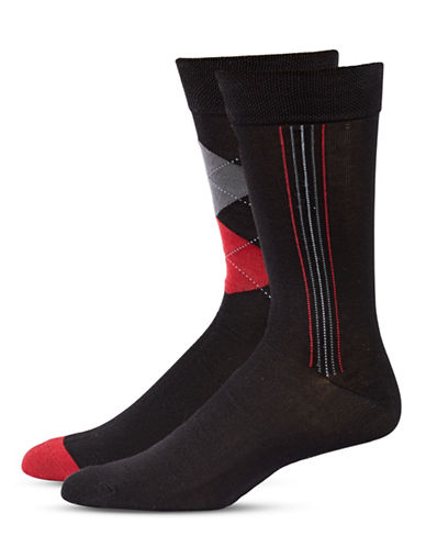 Jockey Mens Two-Pair Stripe and Argyle Socks-BLACK-10