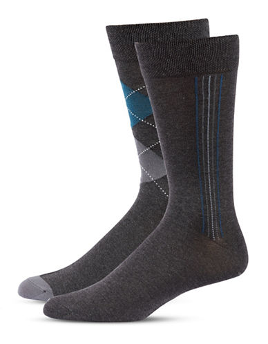 Jockey Mens Two-Pair Stripe and Argyle Socks-GREY-10