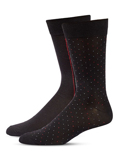 Jockey Mens Two-Pair Stripe and Dot Socks-BLACK-10