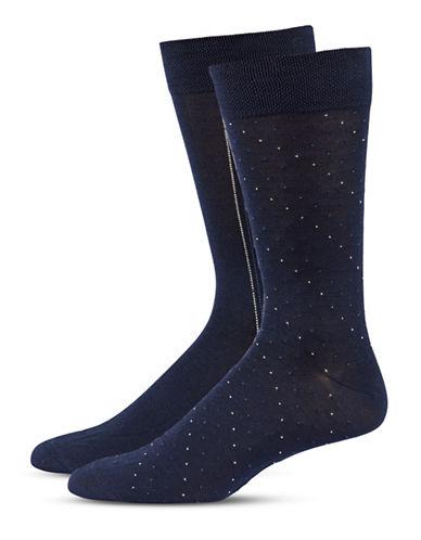 Jockey Mens Two-Pair Stripe and Dot Socks-NAVY-10