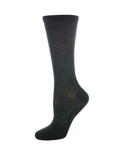 Silks Openwork Floral Crew Socks-BLACK-One Size