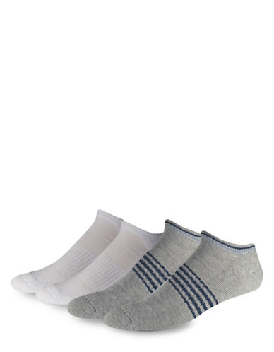 Jockey Striped Noshow Cushioned Socks-GREY-10-12