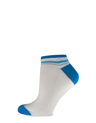 Silks Solid NoShow Heel Toe CushSole Socks-BLUE-One Size
