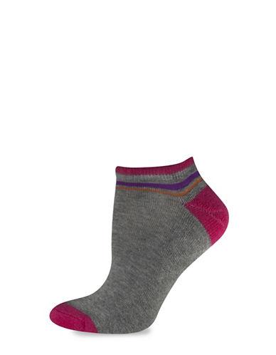 Silks Solid NoShow Heel Toe CushSole Socks-PINK-One Size
