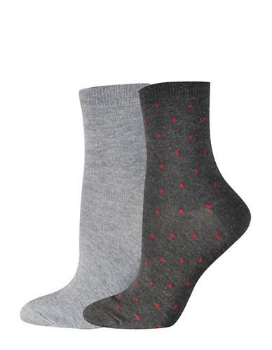 Jockey Square Dot Quarter Socks-CHARCOAL-One Size