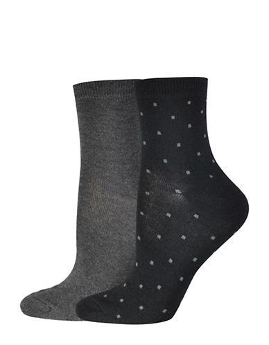Jockey Square Dot Quarter Socks-BLACK/GREY-One Size