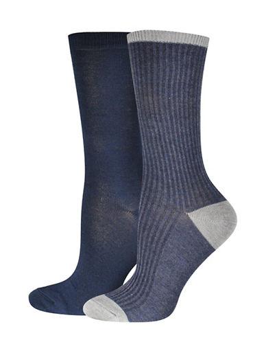 Jockey Fine Rib Crew Socks-BLUE-One Size