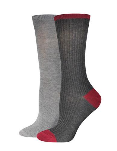 Jockey Fine Rib Crew Socks-CHARCOAL-One Size