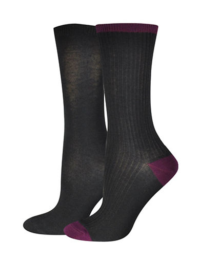 Jockey Fine Rib Crew Socks-BLACK/PURPLE-One Size