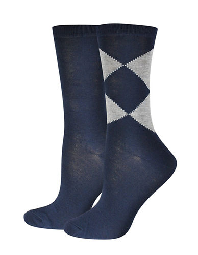 Jockey Double Diamond Crew Socks-BLUE-One Size