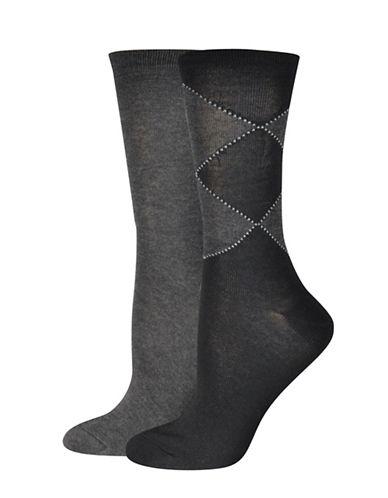 Jockey Double Diamond Crew Socks-BLACK/GREY-One Size