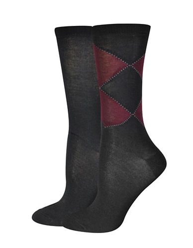 Jockey Double Diamond Crew Socks-BLACK/PURPLE-One Size