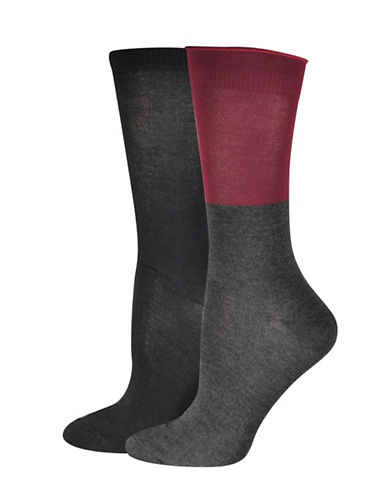 Jockey Colourblock Crew Socks-BLACK/PURPLE-One Size