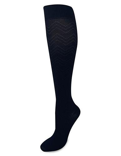 Silks Chevron Knee High Socks-BLACK-One Size