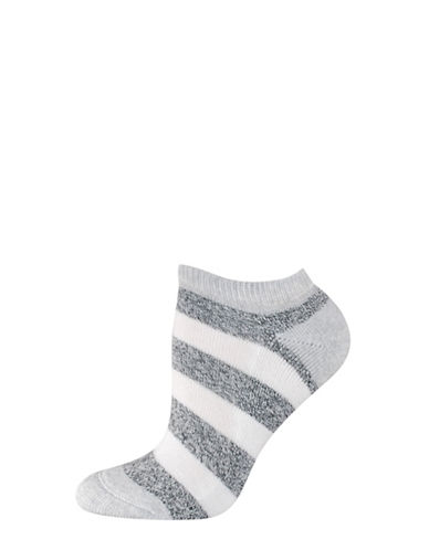 Silks Free Float Stripe Half Cushion Low Cut Socks-WHITE-One Size