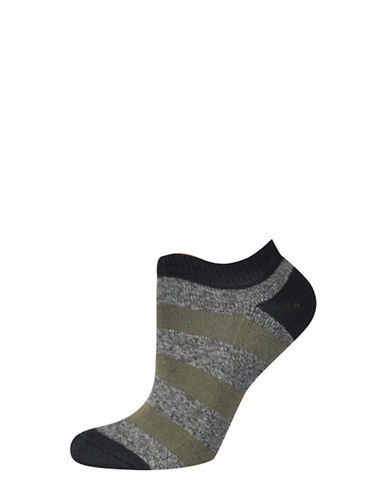 Silks Free Float Stripe Half Cushion Low Cut Socks-GREEN-One Size