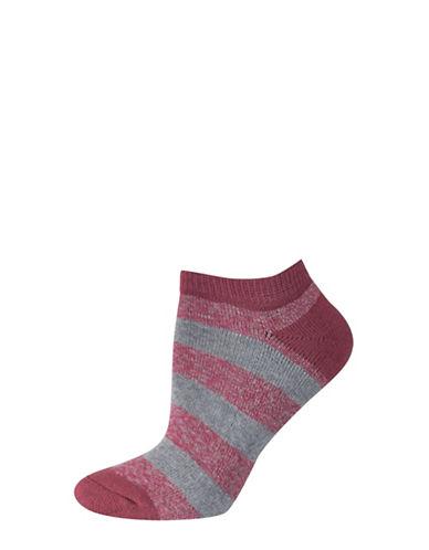 Silks Free Float Stripe Half Cushion Low Cut Socks-RED-One Size