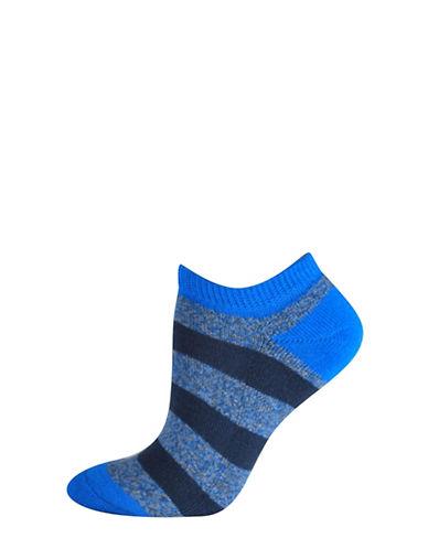 Silks Free Float Stripe Half Cushion Low Cut Socks-BLUE-One Size