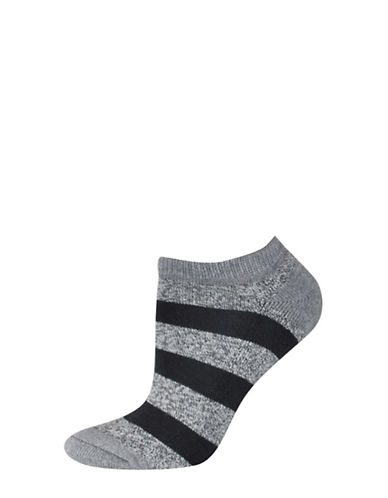 Silks Free Float Stripe Half Cushion Low Cut Socks-BLACK-One Size