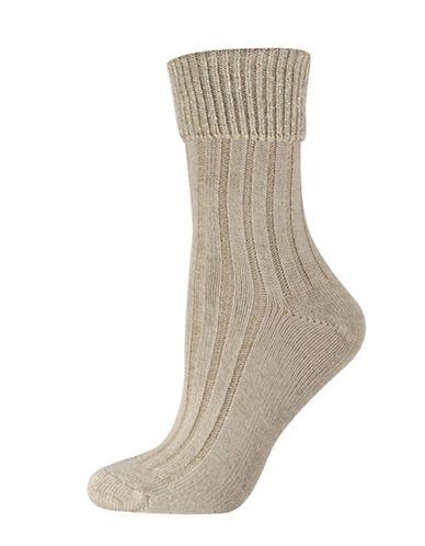 Silks Lurex Ribbed Turned Cuff Socks-BEIGE-One Size