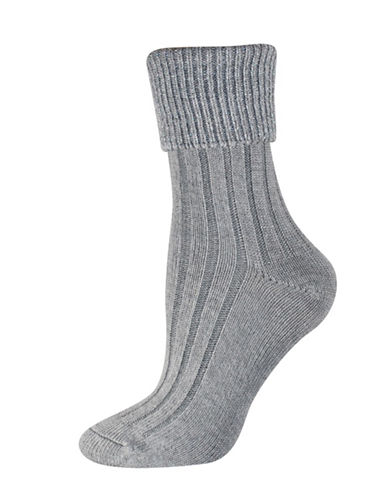 Silks Lurex Ribbed Turned Cuff Socks-GREY-One Size