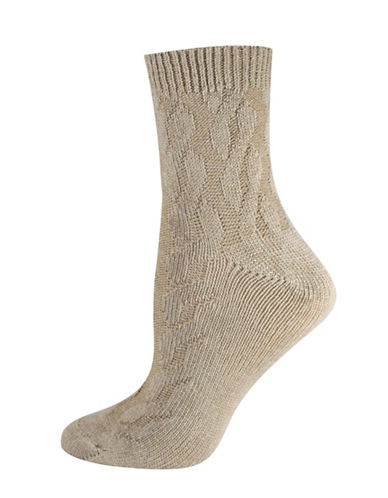 Silks Cable Texture Mid Crew Socks-BEIGE-One Size
