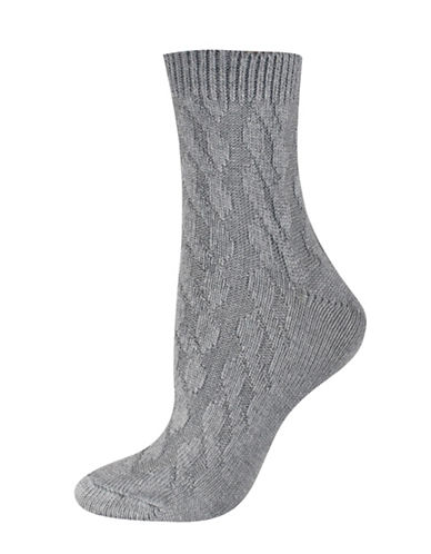 Silks Cable Texture Mid Crew Socks-GREY-One Size