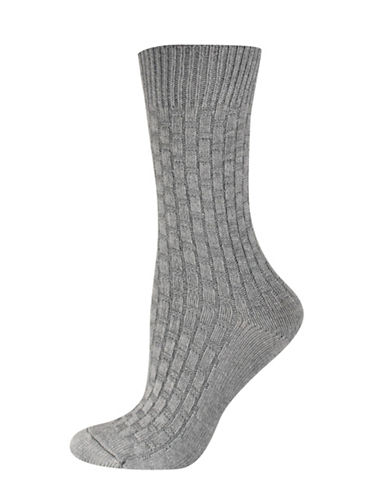 Silks Basket Weave Texture Crew Socks-GREY-One Size