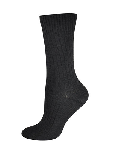 Silks Basket Weave Texture Crew Socks-BLACK-One Size