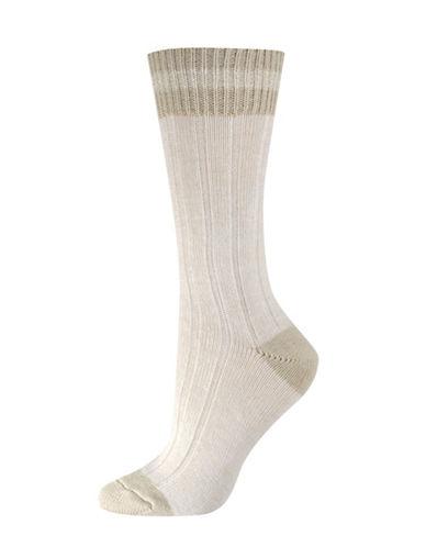 Silks Lurex Cabin Crew Socks-BEIGE-One Size