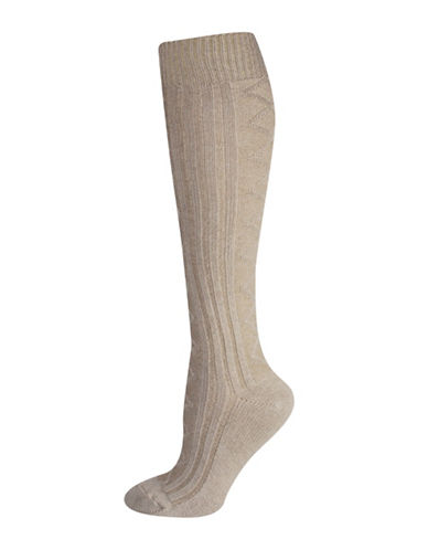 Silks Diamond Texture Knee High Socks-BEIGE-One Size