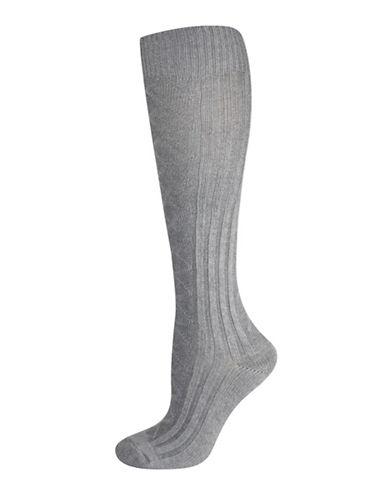 Silks Diamond Texture Knee High Socks-GREY-One Size