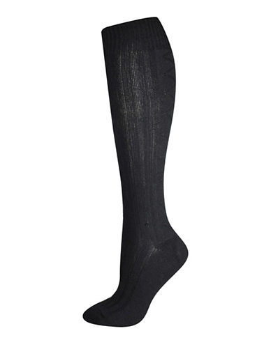 Silks Diamond Texture Knee High Socks-BLACK-One Size