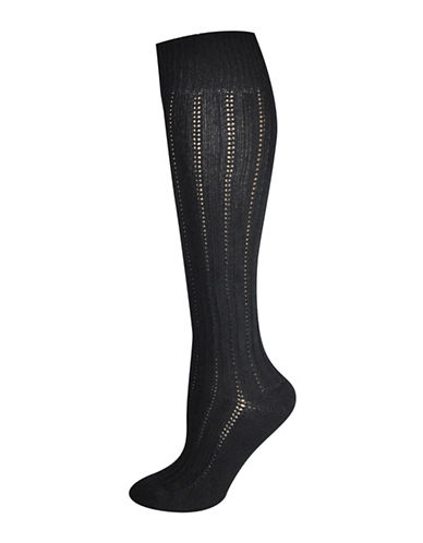 Silks Rib Texture Knee High Socks-BLACK-One Size