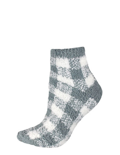 Silks Plaid Soapy Anklet Socks-GREY-One Size