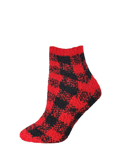 Silks Plaid Soapy Anklet Socks-RED-One Size