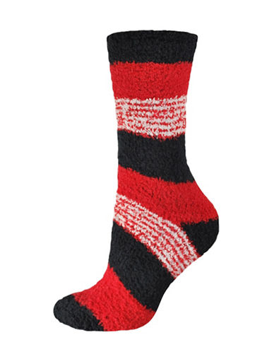 Silks Stripes Soapy Crew Socks-RED-One Size