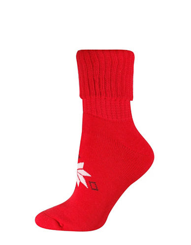 Silks Snowflakes Turn Cuffs Socks-RED-One Size