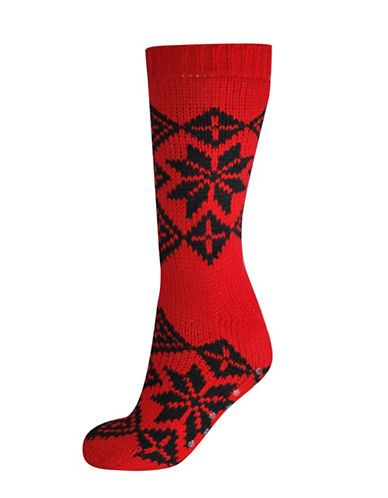 Silks Nordic Anti-Skid Crew Socks-RED-One Size
