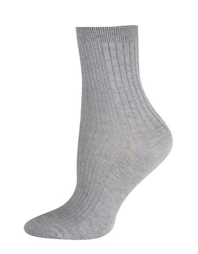 Silks Mixed Rib Mid-Crew Socks-GREY-One Size