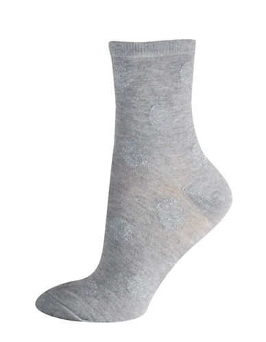 Silks Lurex Dots Mid-Crew Socks-GREY-One Size