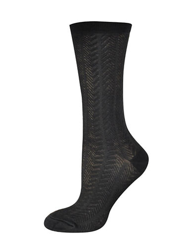 Silks Multi Textured Crew Socks-BLACK-One Size