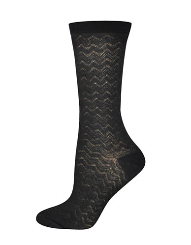 Silks Zig Zag Textured Crew Socks-BLACK-One Size