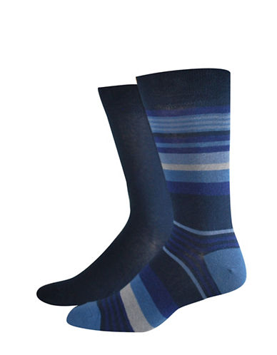 Jockey Two-Pack Stripe Socks Set-BLUE-10
