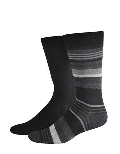 Jockey Two-Pack Stripe Socks Set-BLACK-10