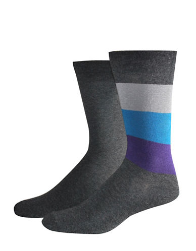 Jockey Two-Pack Colourblock Socks Set-GREY-10
