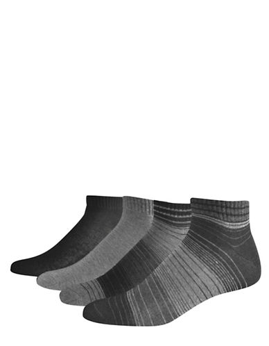 Jockey Four-Piece Multistripe Socks Set-GREY-10-12
