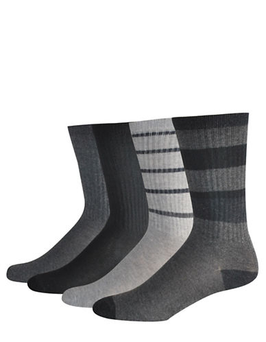 Jockey Four-Piece Rib-Stripe Crew Socks Set-GREY-10-12