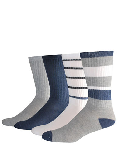 Jockey Four-Piece Rib-Stripe Crew Socks Set-BLUE-10-12